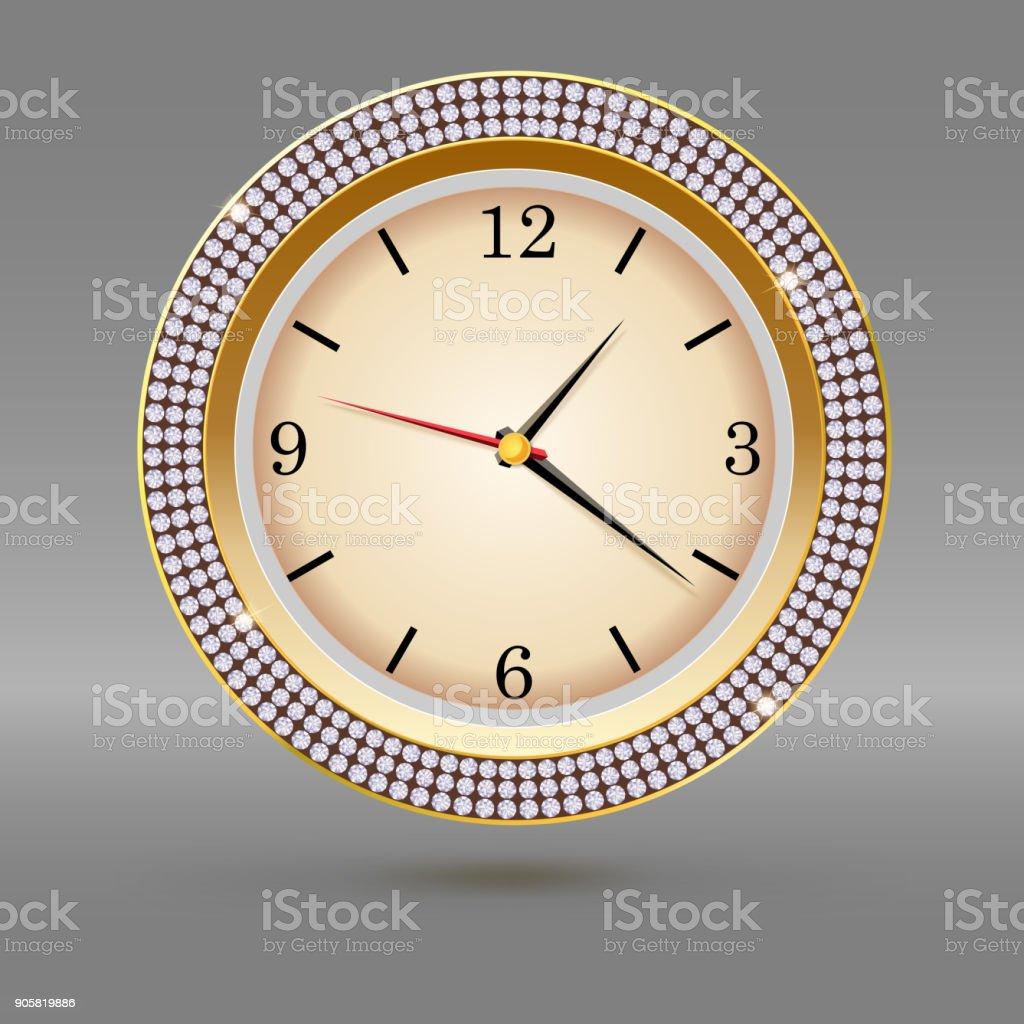 Ilustración de Reloj De Oro Con Diamantes Sobre Fondo Gris Icono De ...