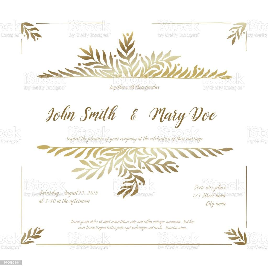 Goldene Hochzeit Einladung Kartenvorlage Stock Vektor Art Und Mehr Bilder Von Bildkomposition Und Technik