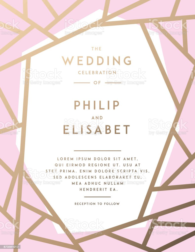 Golden Wedding Invitation Template Stock Vector Art & More Images of ...