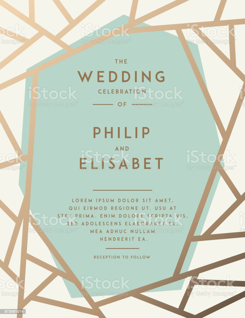 Golden Wedding Invitation Template Stock Vector Art More Images Of