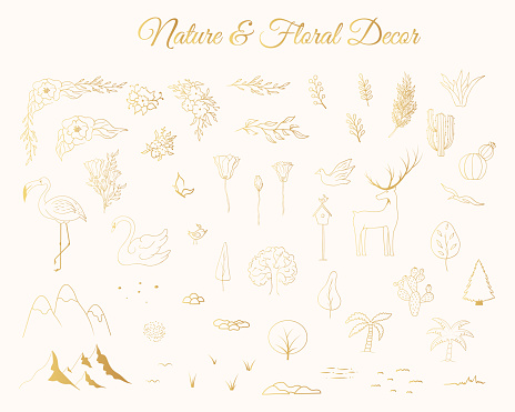 Golden wedding nature and floral decor. Vector isolated gold trees, flourish corners, flowers, deer, flamingo and other celebration elements.. Hand drawn illustration for marrige ceremony.