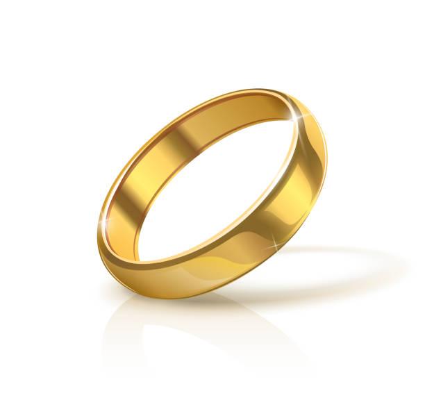illustrations, cliparts, dessins animés et icônes de bague de mariage à golden - bague