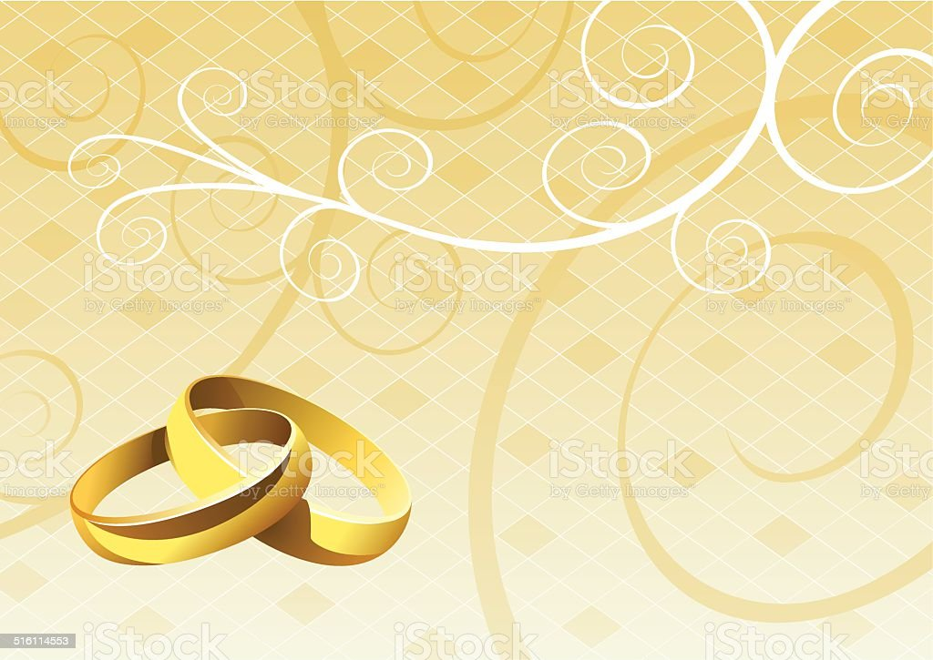 Golden Wedding Rings In Front Of An Abstract Background Stock Vector