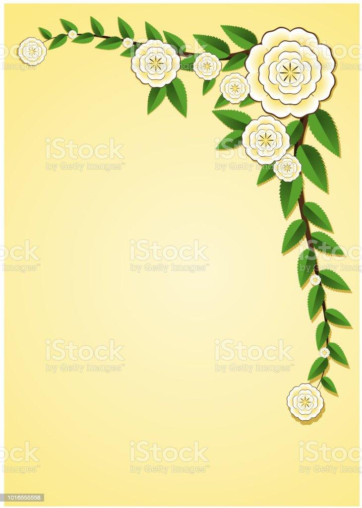 Altın beyaz doku çiçeği çiçek altın zemin üzerine yeşil yaprak çerçeve ile asma sınır arka plan doku uzay vektör çizim üzerinde ambalaj kağıdı A4 boyutu mektup şablonu ile dekore edilmiştir. vektör sanat illüstrasyonu