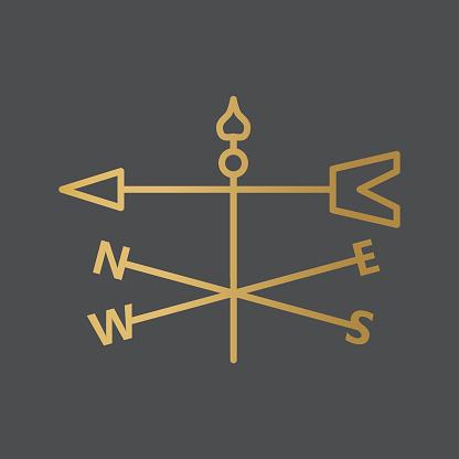 golden windvane icon- vector illustration