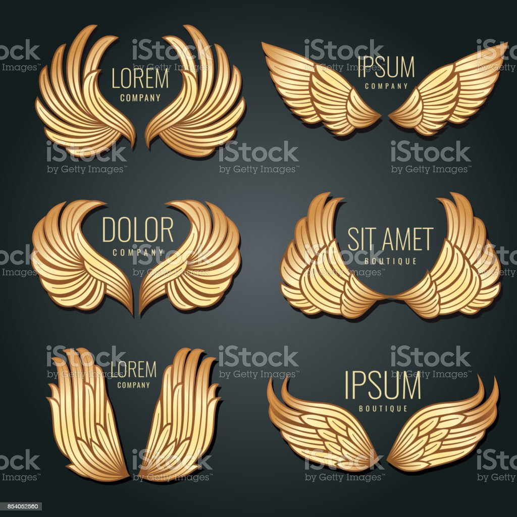Golden wing logo vector set. Angels and bird elite gold labels for corporate identity design royalty-free golden wing logo vector set angels and bird elite gold labels for corporate identity design stock illustration - download image now