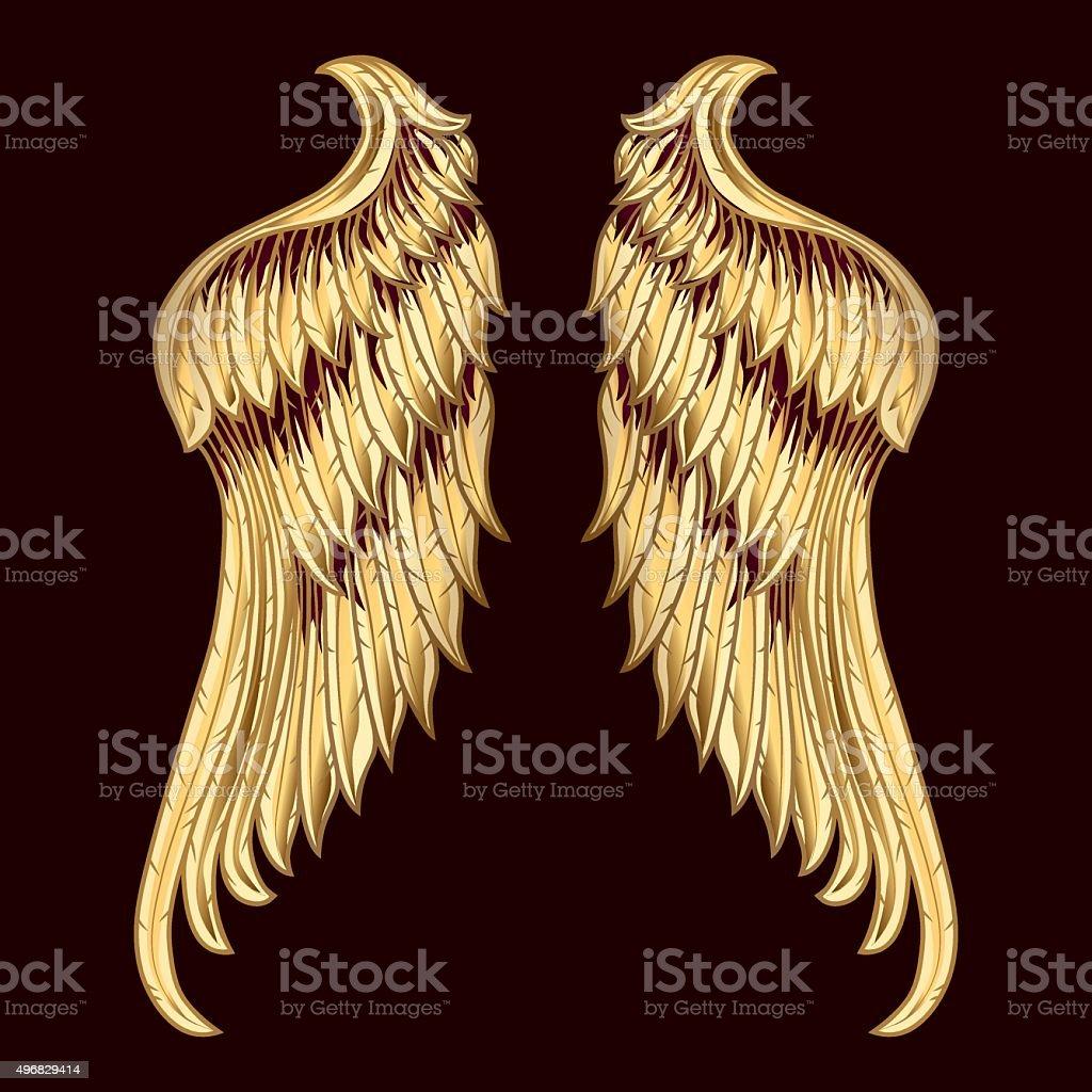Golden Wings vector art illustration