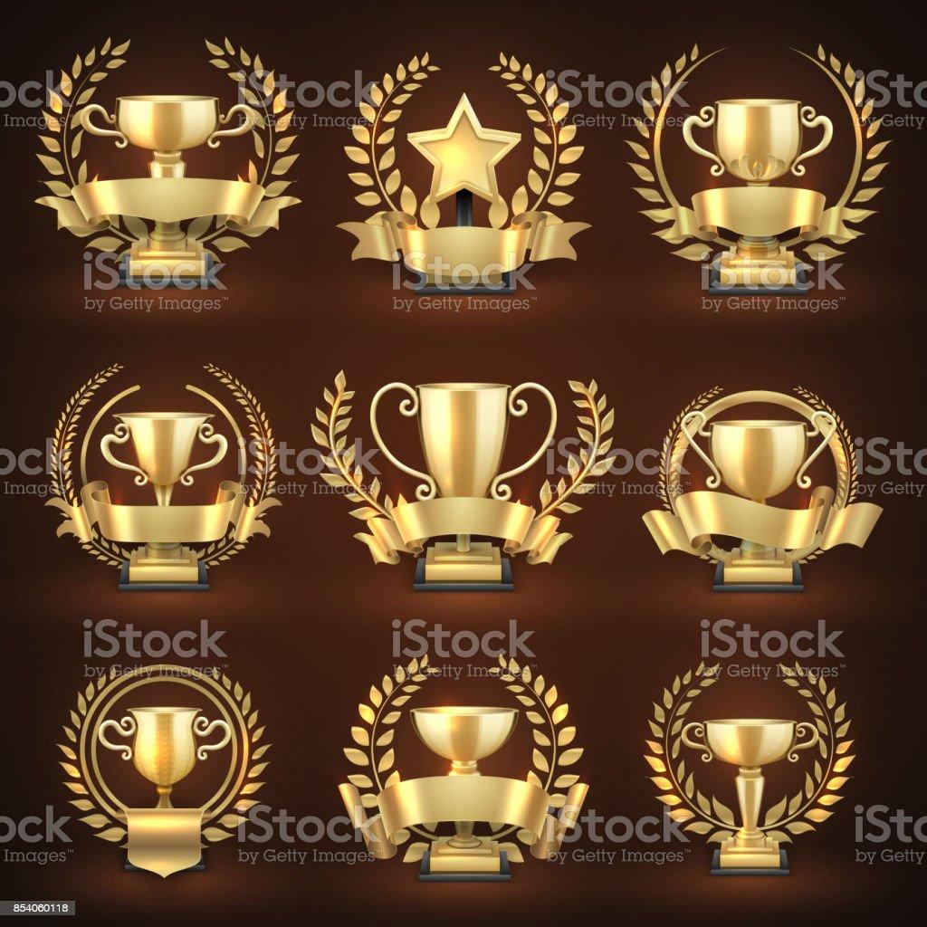 Ilustración de Tazas De Oro Ganador Trofeo Premio Deportes