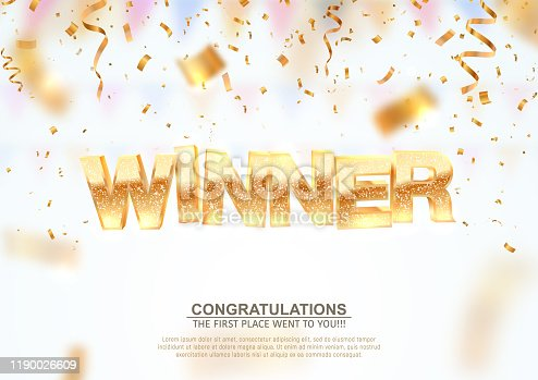 Golden winner word on falling down confetti background with blur motion effect. Winning vector illustration template. Congratulations with perfect victory.
