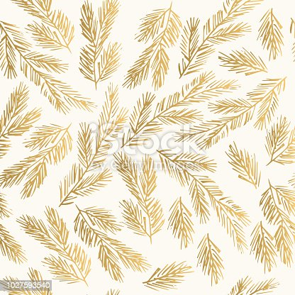 istock Golden winter pattern with fir branches. Decorative New Year background. 1027593540