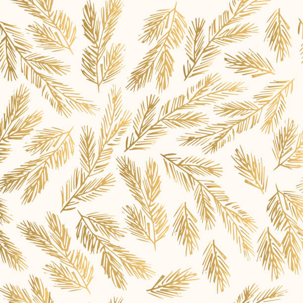 Golden winter pattern with fir branches. Decorative New Year background. Golden winter pattern with fir branches. Decorative New Year background. pine tree stock illustrations