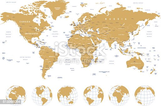 Golden world map borders countries cities and globes illustration golden world map borders countries cities and globes illustration stock vector art more images of africa 513366084 istock gumiabroncs Image collections