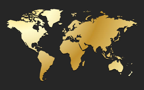 golden world map premium business background of global wealth and values vector art illustration