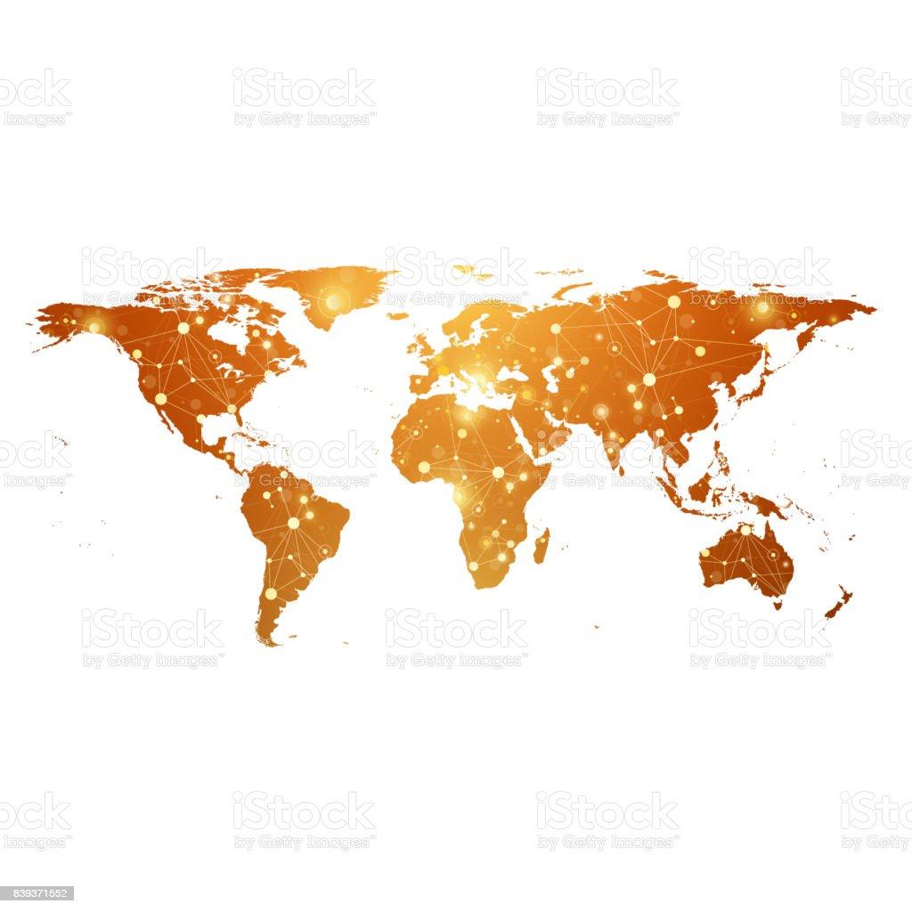 Goldene weltkarte mit globalen - Weltkarte mit fotos ...