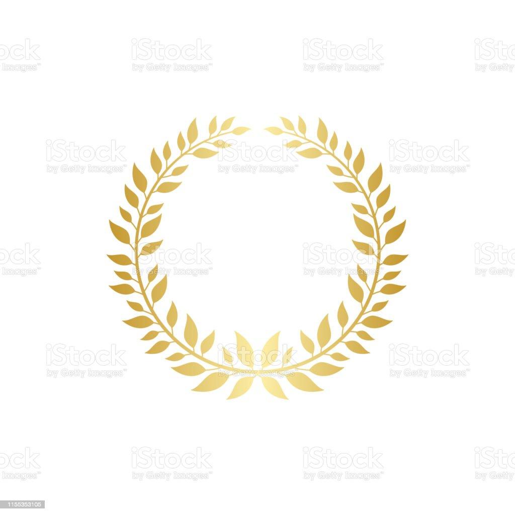 Golden wreath for award decoration, gold leaf frame for laurel prize...