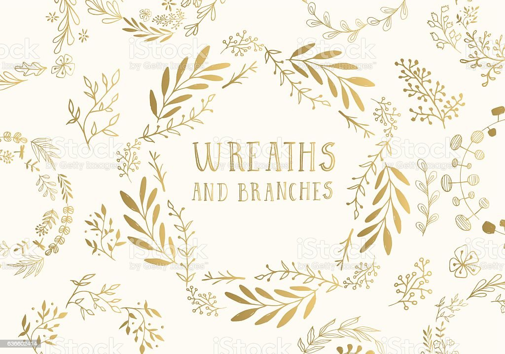 Golden wreaths. - ilustración de arte vectorial