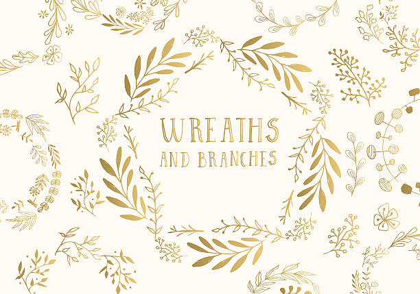 Golden wreaths. vector art illustration
