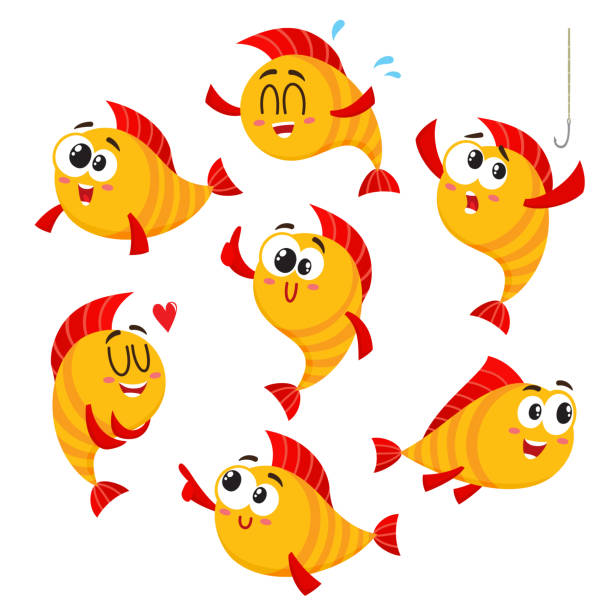 Golden, yellow fish characters with human face showing different emotions vector art illustration