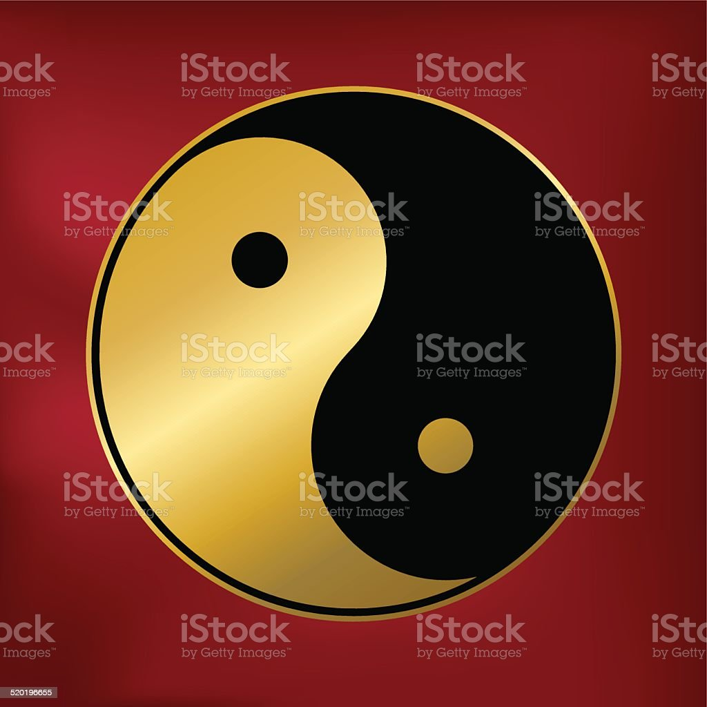 Vector drawing of the Taoist Yin and Yang symbol in black and gold on...