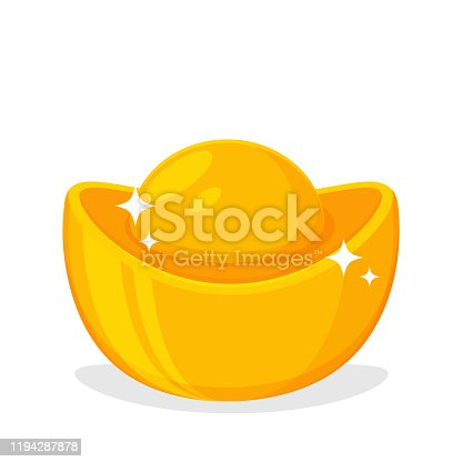 istock Golden Yuan Bao Currency of china Symbol of financial wealth For decorating during the Chinese New Year. 1194287878