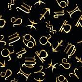 Golden zodiacal signs over black background