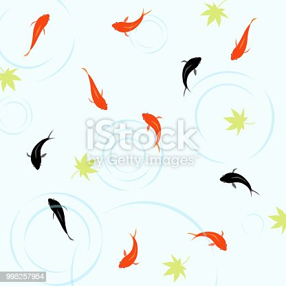 Goldfish and a maple pattern