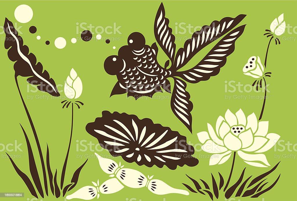 Goldfish, Bubbles & Lotus Flowers royalty-free goldfish bubbles lotus flowers stock vector art & more images of animal