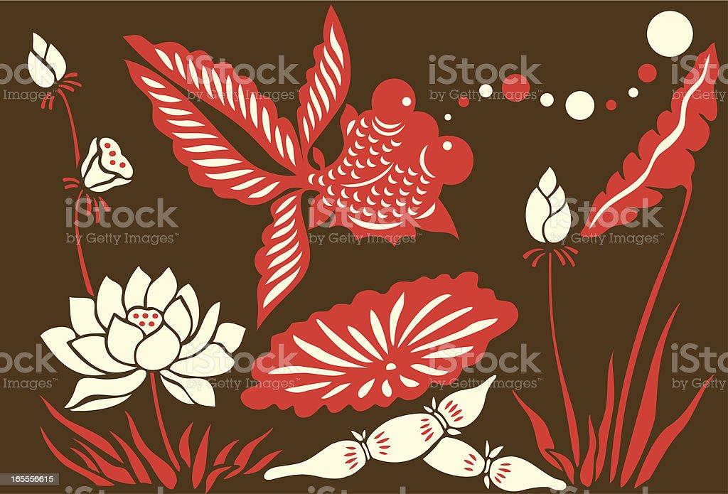 Goldfish, Bubbles & Lotus Flowers royalty-free stock vector art