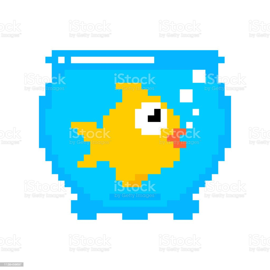 Goldfish In Aquarium Pixel Art Isolated Gold Fish 8bit Sea