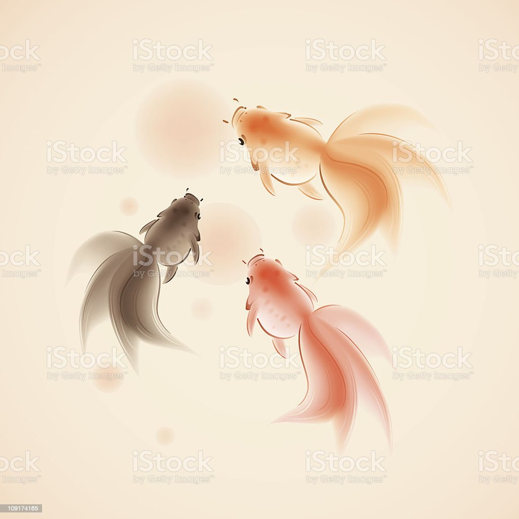 goldfish in oriental style painting royalty-free stock vector art
