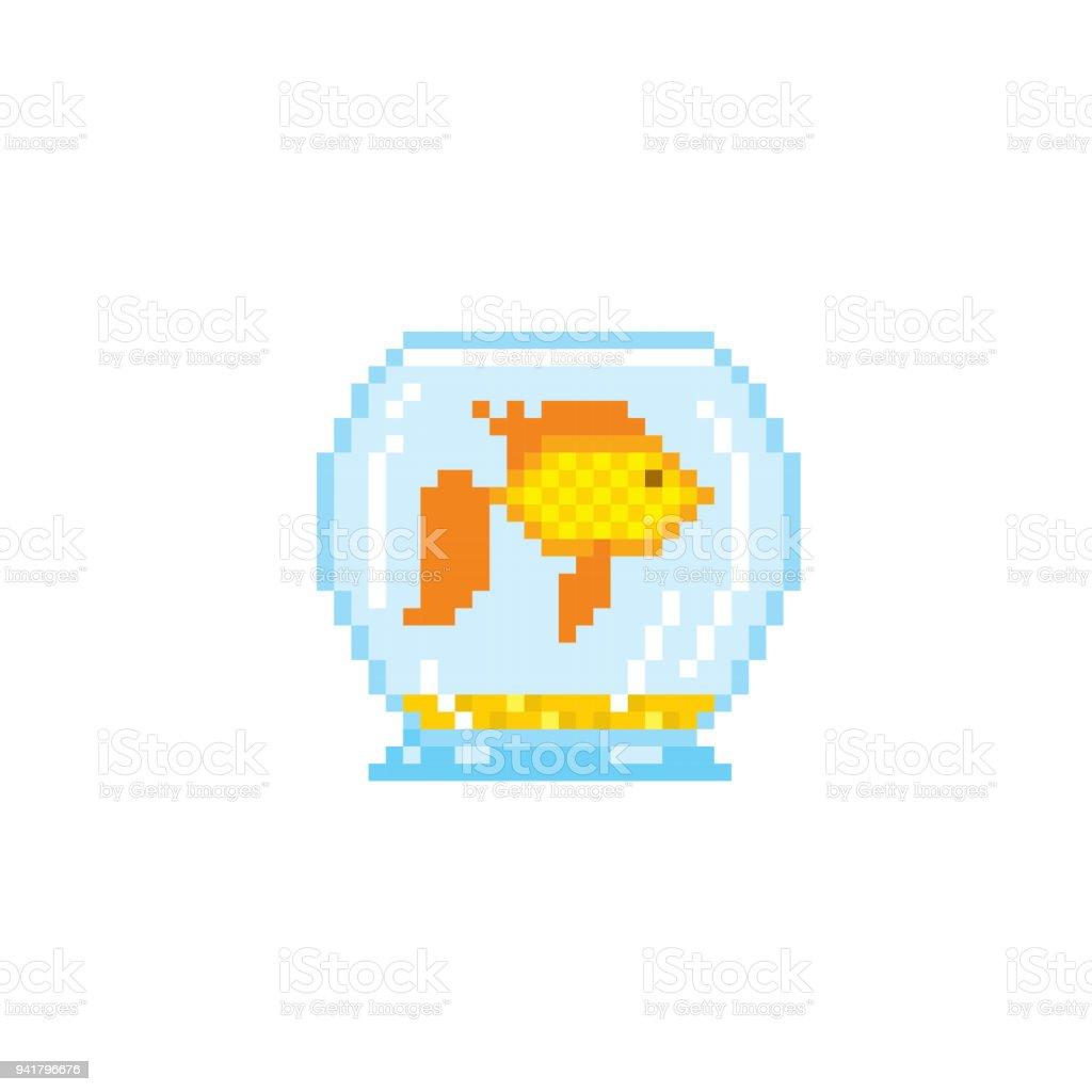 Goldfish In The Aquarium Pixel Art Old School Computer Graphic 8 Bit