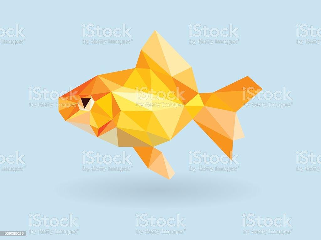 Goldfish low polygon on blue background vector art illustration
