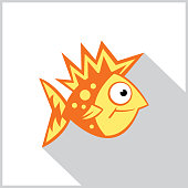 Vector illustration of a cartoon goldfish icon.