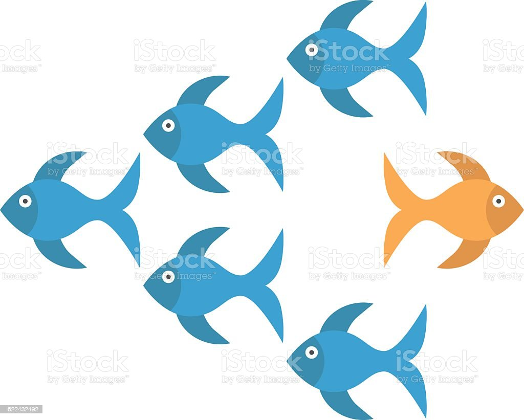 Goldfish taking different way vector art illustration