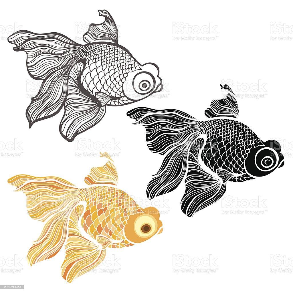 Goldfish, vector illustration isolated on white background vector art illustration