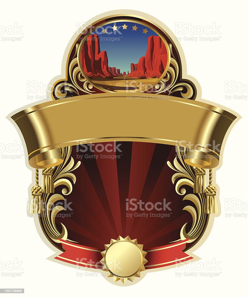 Gold-framed label with a canyon royalty-free stock vector art