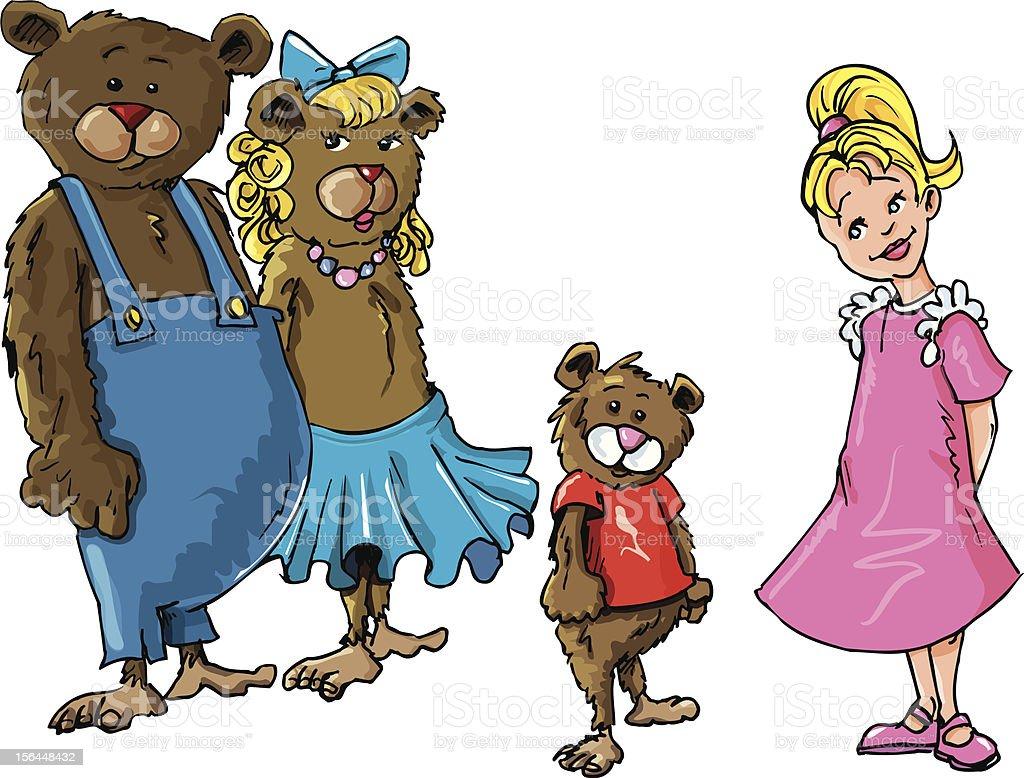 Goldilocks and the three bears vector art illustration