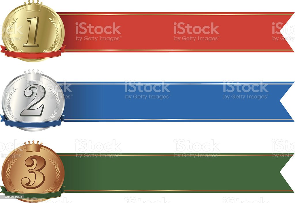 gold,silver & bronze medals set royalty-free stock vector art