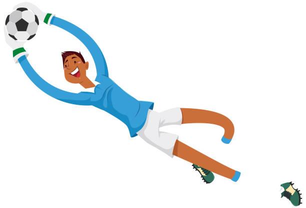 Goleiro defendendo o gol Jogador de futebol futebol stock illustrations