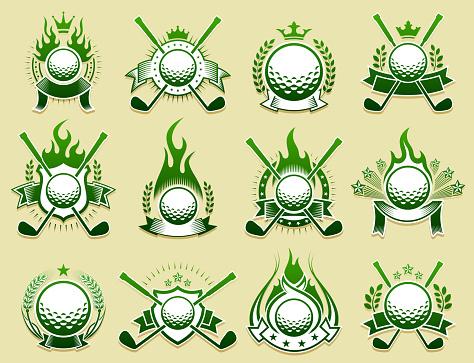 Golf Amateur Country Club on Grunge Badge Set
