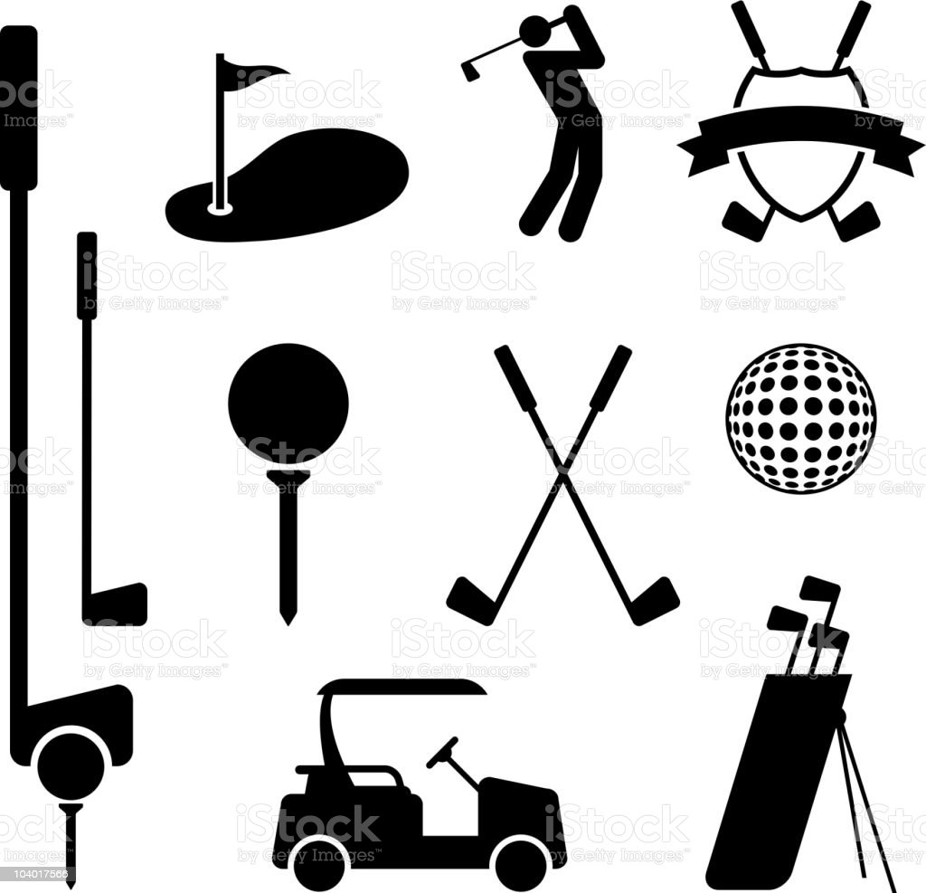 Golf and Golfing Equipment Black on White Vector Set vector art illustration