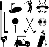 Golf and Golfing Equipment Black on White Vector Set