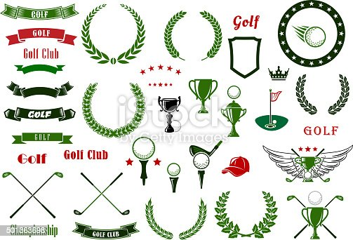 Golf and golfing sport design elements with balls and crossed clubs, green area with hole and flag, trophy cup, laurel wreaths and star frame, heraldic shield and ribbon banners, crown and wings