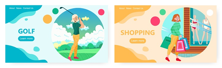 Golf and shopping, landing page design, website banner vector template set. Wellbeing, health, happiness.