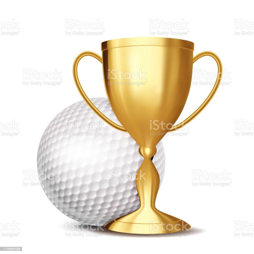 Golf Game Award Vector. Golf Ball, Golden Cup. Modern Tournament....