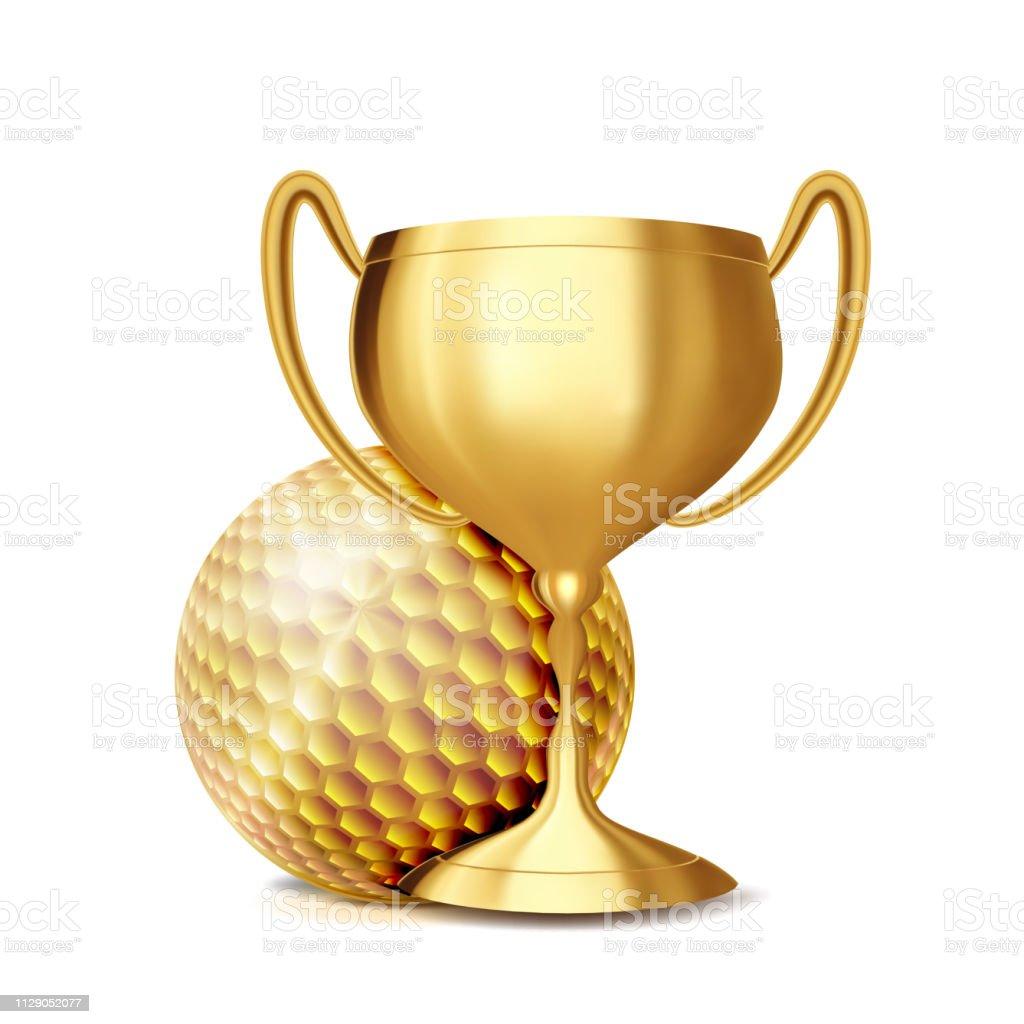 Golf Award Vector. Golf Ball, Golden Cup. Banner Advertising. Sport...