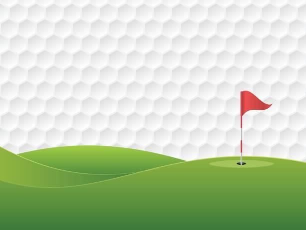 ilustrações de stock, clip art, desenhos animados e ícones de golf background. golf course with a hole and a flag. - golf