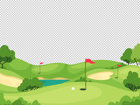 Golf background. Green golf course with hole and red flags for invitation card, poster and banner, charity play tournament vector template