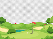 istock Golf background. Green golf course with hole and red flags for invitation card, poster and banner, charity play tournament vector template 1265965256