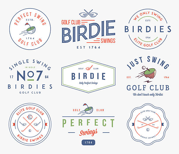 Golf Badges and labels Golf badges and lables for any use shuttlecock stock illustrations